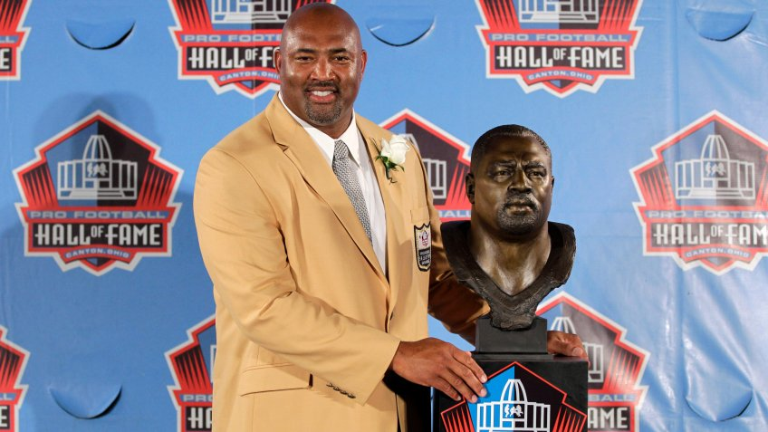 Mandatory Credit: Photo by Gene J Puskar/AP/Shutterstock (6022099l)Dermontti Dawson Former NFL player Dermontti Dawson poses with a bust of himself during an induction ceremony at the Pro Football Hall of Fame, Saturday, Aug.