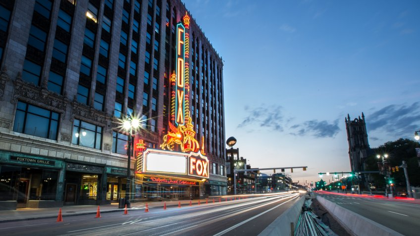 Detroit, Michigan, USA - July 30, 2017:  Downtown Detroit's most famous road is Woodward Avenue.