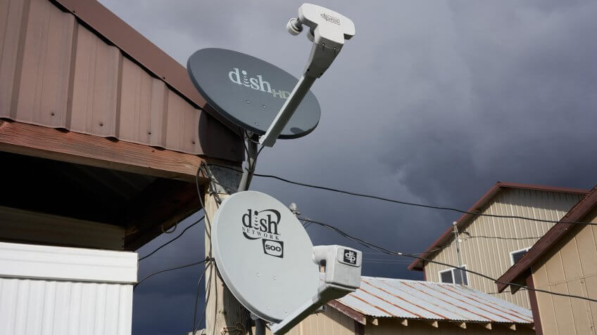 Parkdale, Oregon, USA - Oct 26, 2019: DISH satellite TV antennas are seen in a farm.