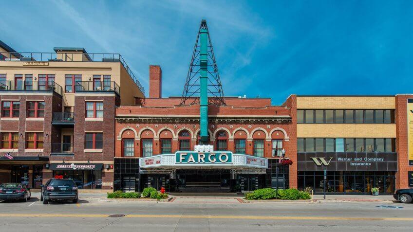 Fargo, North Dakota / USA - June 27 2017: Theater and Street View in Summer.