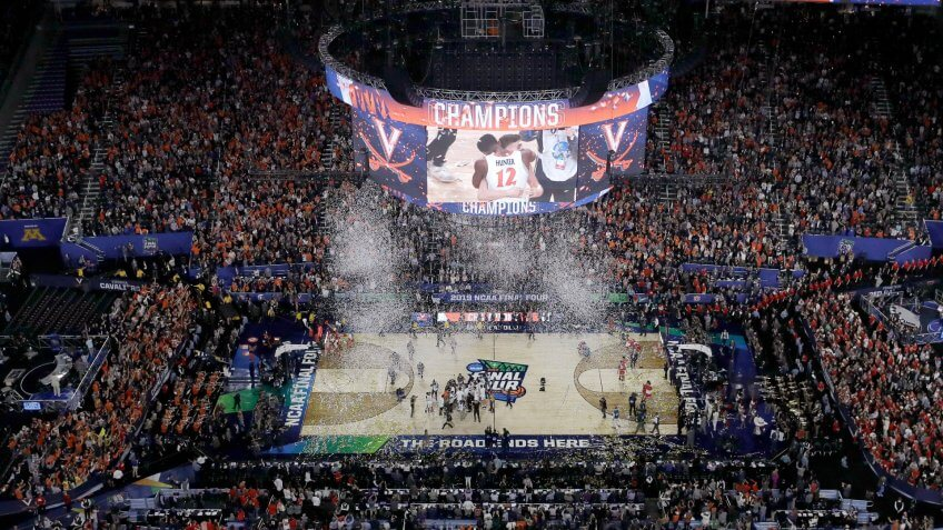 Virginia players celebrates after defeating Texas Tech 85-77 in the overtime in the championship of the Final Four NCAA college basketball tournament, in MinneapolisFinal Four Texas Tech Virginia Basketball - 08 Apr 2019.