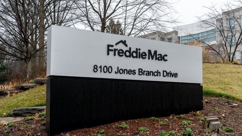Tysons Corner, Virginia, USA- January 14, 2020: Freddie Mac sign at its headquarters in Tysons Corner, Virginia, USA, Freddie Mac is a public government-sponsored enterprise (GSE).