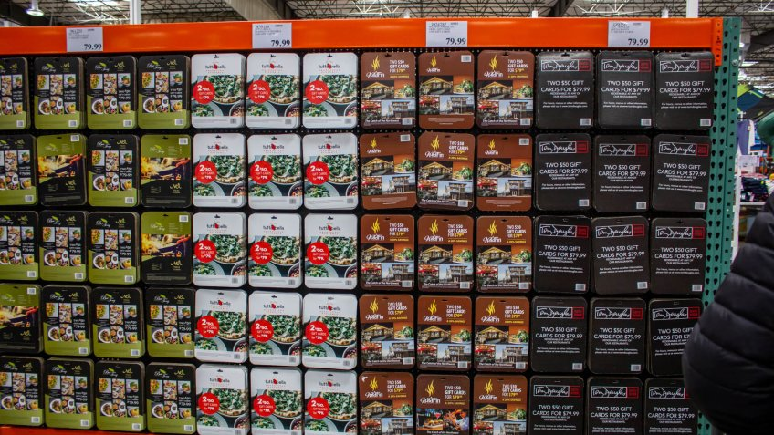Issaquah, Washington/United States - 04/27/2019: Several options of discount gift cards available for purchase at Costco.