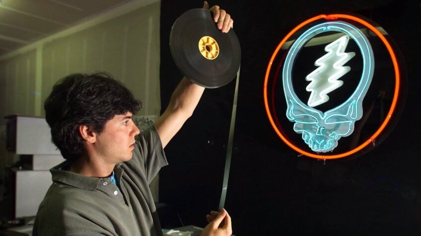 LEMIEUX David Lemieux, audio-visual archivist for the Grateful Dead, holds up a piece of 16mm motion picture film while working in the vault at the Dead's warehouse in Novato, Calif.
