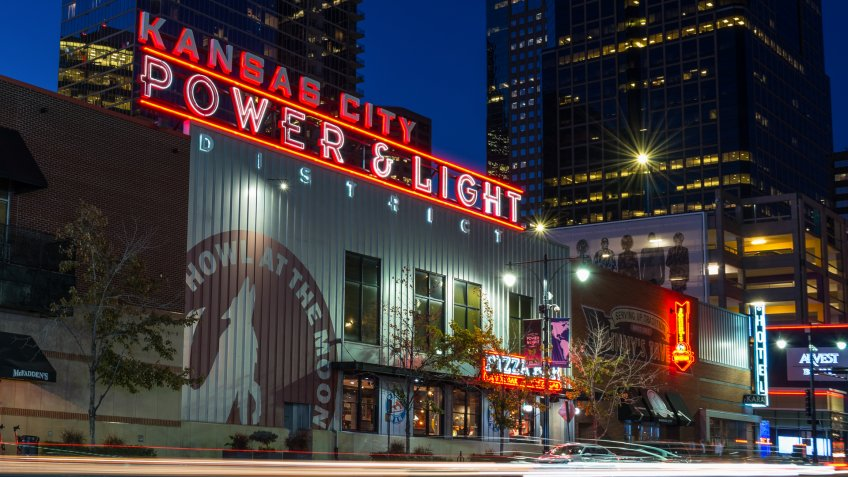 Kansas City, Missouri / United States of America - October 16th 2019 : Power and Light District on top of a building.