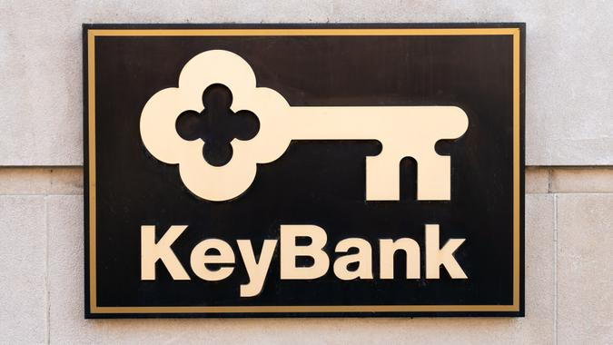 COOPERSTOWN, NY/USA - SEPTEMBER 28, 2019: KeyBank bank exterior and trademark logo.