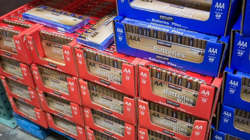 Marina Del Rey, California/United States - 01/23/2020: A view of several packages of Kirkland Signature batteries on display at a local Costco.