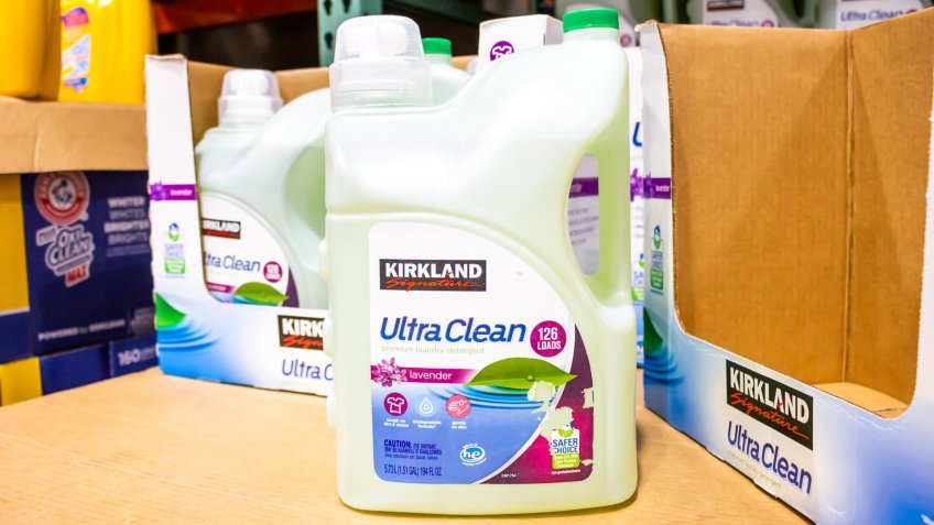 Alhambra, California/United States - 01/31/2020: A view of several large containers of Kirkland Signature Ultra Clean laundry detergent on display at a local Costco.