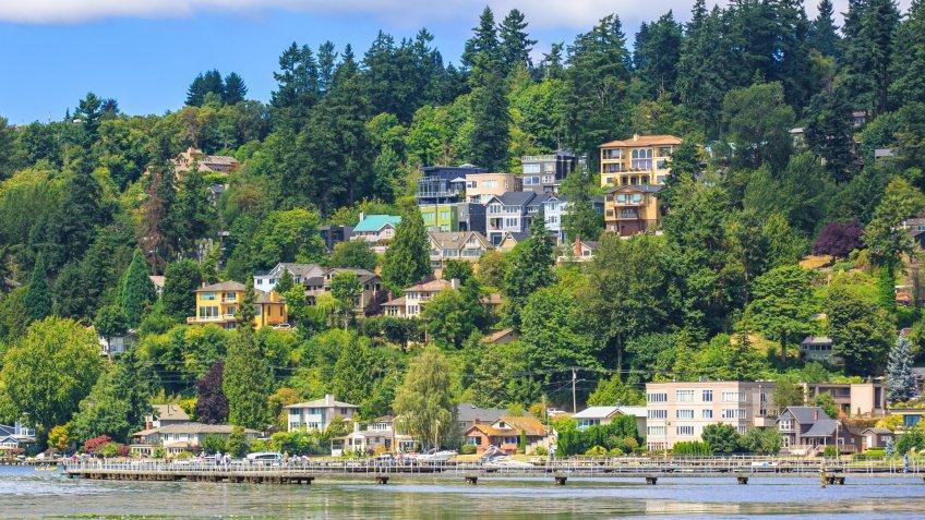 View of Lake Washington in Kirkland, Washington.