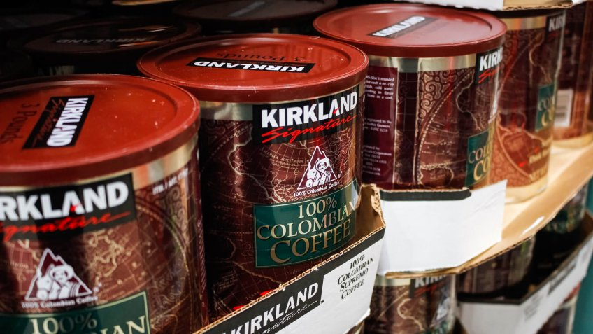 Garden Grove, California/United States - 02/13/2020: A view of several big canisters of Kirkland Signature Colombian ground coffee on display at a local Costco.
