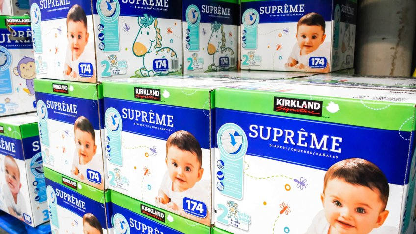 Tustin, California/United States - 02/08/2020: A view of several cases of Kirkland Signature Supreme diapers on display at a local Costco.