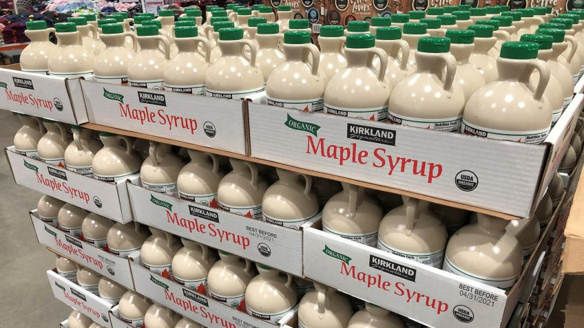 BAXTER, MN - 8 DEC 2019: Costco Kirkland brand of organic Maple Syrup on display in store.