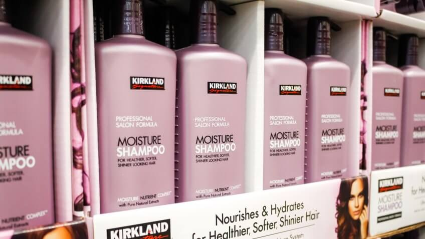 Garden Grove, California/United States - 02/13/2020: A view of several bottles of Kirkland Signature Moisture Shampoo on display at a local Costco.