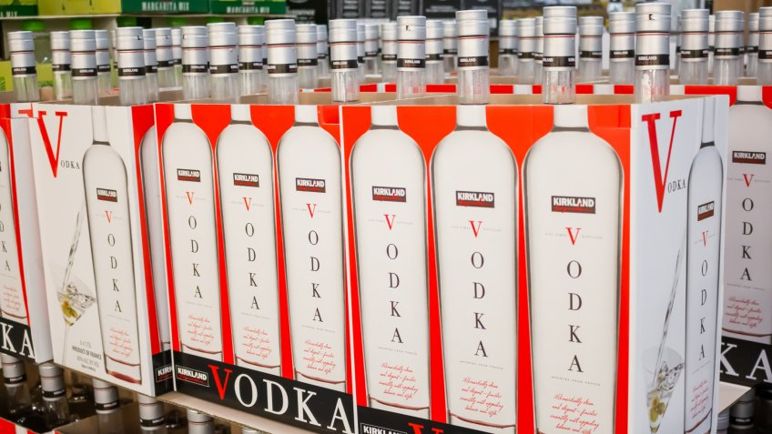 Marina Del Rey, California/United States - 01/23/2020: A view of several cases of glass bottles of Kirkland Signature Vodka on display at a local Costco.