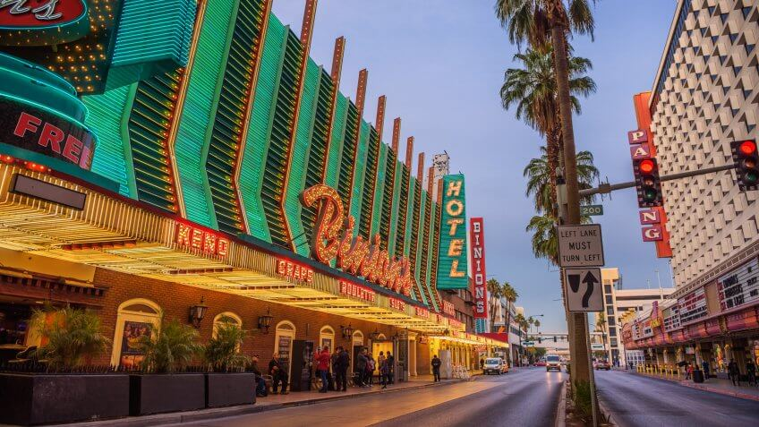Las Vegas, USA - January 3, 2018 : Binion's Gambling Hall on Fremont Street with many neon lights and tourists.