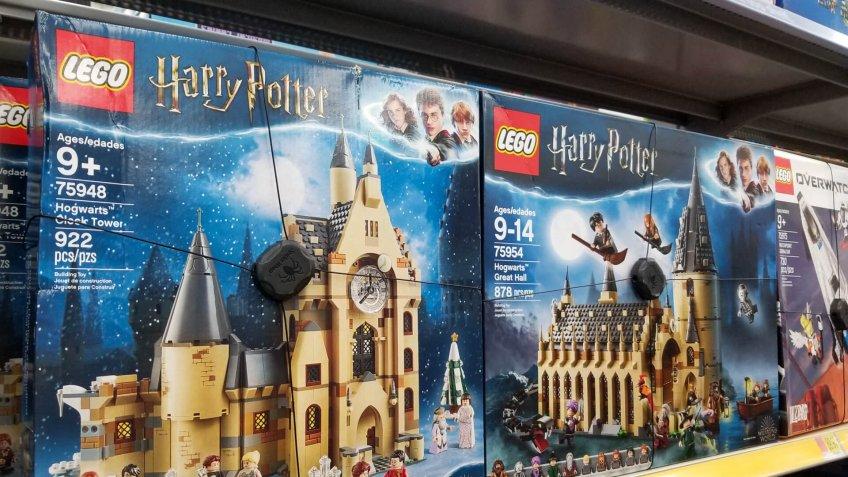Columbus, Ohio- November 27, 2019: Local Walmart toy aisle with Harry Potter Lego Castle on display.