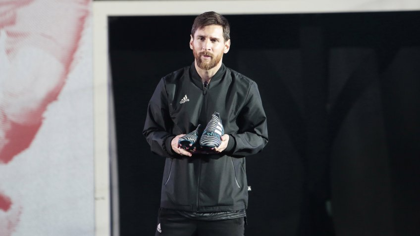 Mandatory Credit: Photo by Miquel Benitez/Shutterstock (9335914f)Lionel MessiLionel Messi Adidas 'Nemesis' boots launch, Barcelona, Spain - 26 Jan 2018.