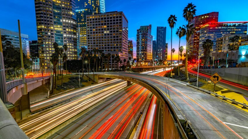 Los Angeles in the evening hour.
