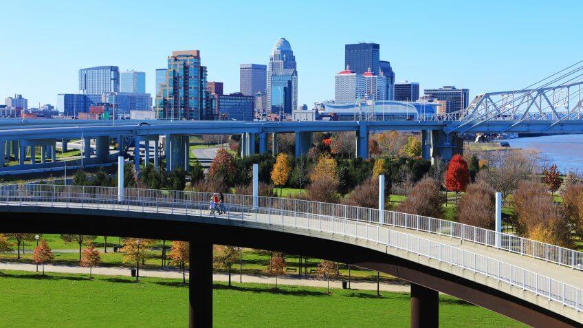 The Louisville, Kentucky skyline with pedestrian walkway in front.