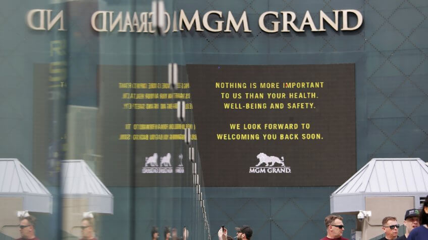 "The MGM Grand hotel-casino, which is closing, flashes messages on their marquees that read ""Nothing is more important to us than your health, well-being and safety."