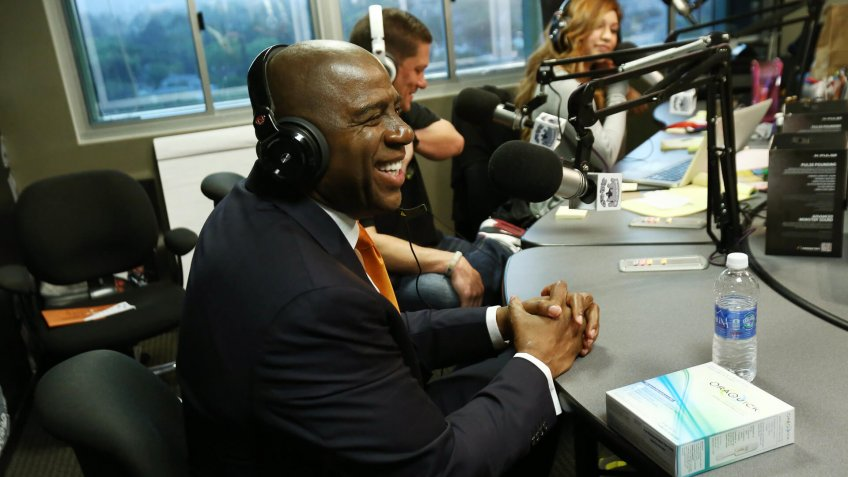 """Earvin """"Magic"""" Johnson, CEO of Magic Johnson Enterprises, visits Big Boyâ?™s Neighborhood at the LA Power 106 studio to discuss the OraQuick In-Home HIV test and the importance of knowing your HIV status on in Burbank, CalifOraQuick Media Tour with Magic Johnson, Burbank, USA - 25 Mar 2013."""