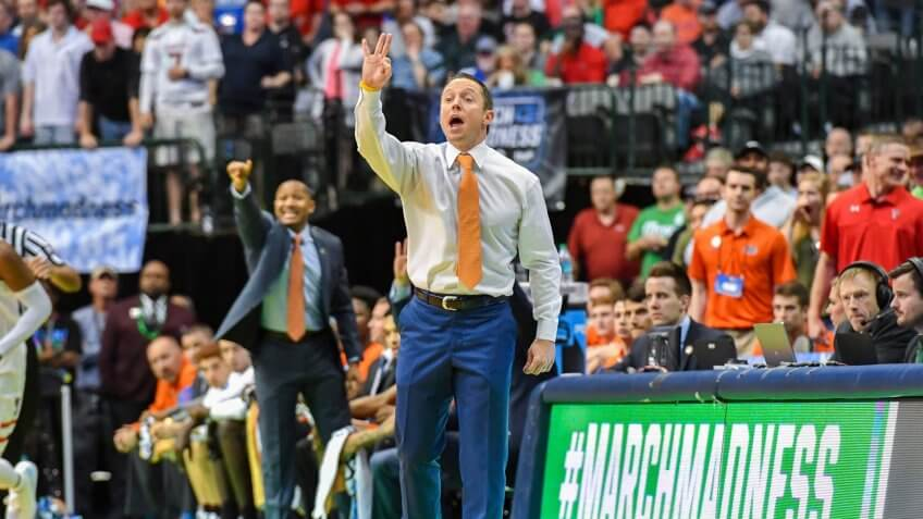 Florida Gators head coach Mike White in the second round of the NCAA March Madness Men's Basketball game between the Texas Tech Red Raiders and the Florida Gators at the American Airlines Center in Dallas, TX Texas defeated Florida 69-66 Albert Pena/CSMNCAA March Madness Basketball Texas Tech vs Florida, Dallas, USA - 16 Mar 2018.