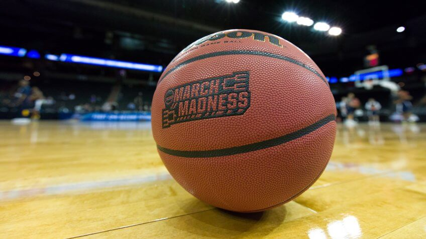 March 17, 2016 - Spokane, WA: A game ball sits on court the day prior to the start of the 2016 NCAA Men's Basketball Tournament games at the Spokane Veterans Memorial Arena.