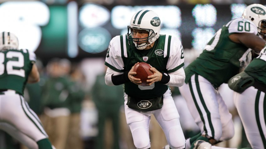 Mandatory Credit: Photo by Kathy Willens/AP/Shutterstock (6024234ac)Mark Brunell New York Jets' Mark Brunell looks to hand off the ball during the fourth quarter of the NFL football game against the Kansas City Chiefs, in East Rutherford, N.