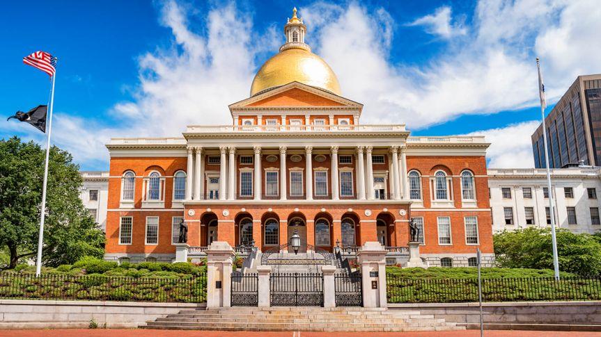 Stock photograph of the landmark Massachusetts State House, the state capitol of Massachusetts, USA, located in downtown Boston.