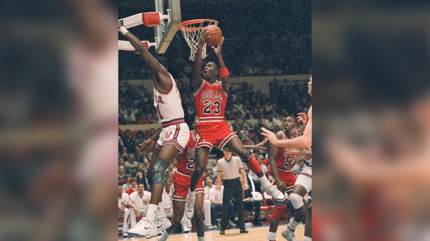 Michael Jordan Chicago Bulls Michael Jordan, 23, earn two of his 31 points against the New York Knicks, at New York's Madison Square Garden in New York at night on .