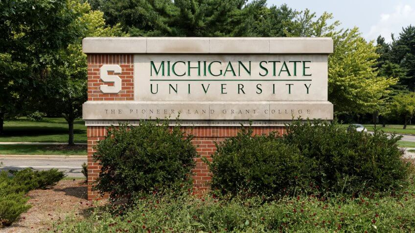 East Lansing, MI, USA - August 1, 2014: An entrance to Michigan State University.