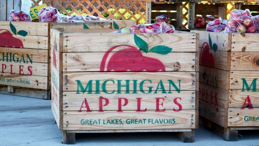 September 12 2014 Michigan USA; large boxes of juicy Michigan Apples for sale in a Michigan farm store.