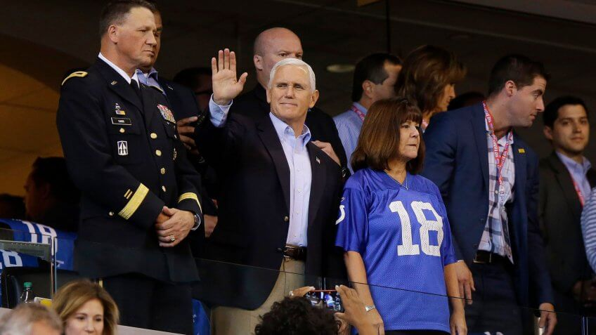 Vice President Mike Pence waves to fans before an NFL football game between the Indianapolis Colts and the San Francisco 49ers, in Indianapolis49ers Colts Football, Indianapolis, USA - 08 Oct 2017.
