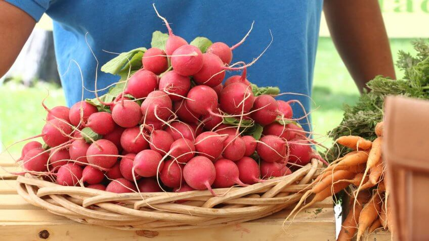 A basket of radishes at a farmers market in Albuquerque, New Mexico.