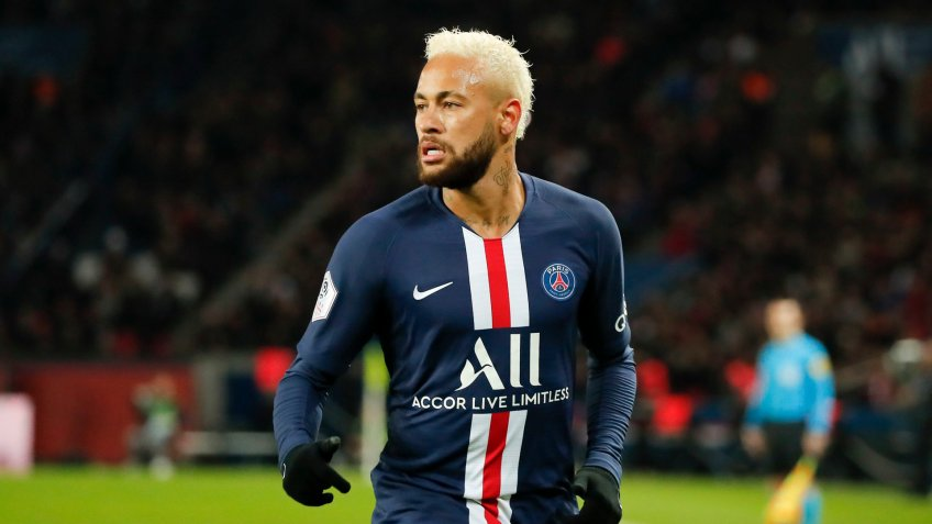 Mandatory Credit: Photo by Francois Mori/AP/Shutterstock (10524040h)PSG's Neymar reacts after scoring the opening goal during the French League One soccer match between Paris-Saint-Germain and Monaco at the Parc des Princes stadium in ParisSoccer League One, Paris, France - 12 Jan 2020.