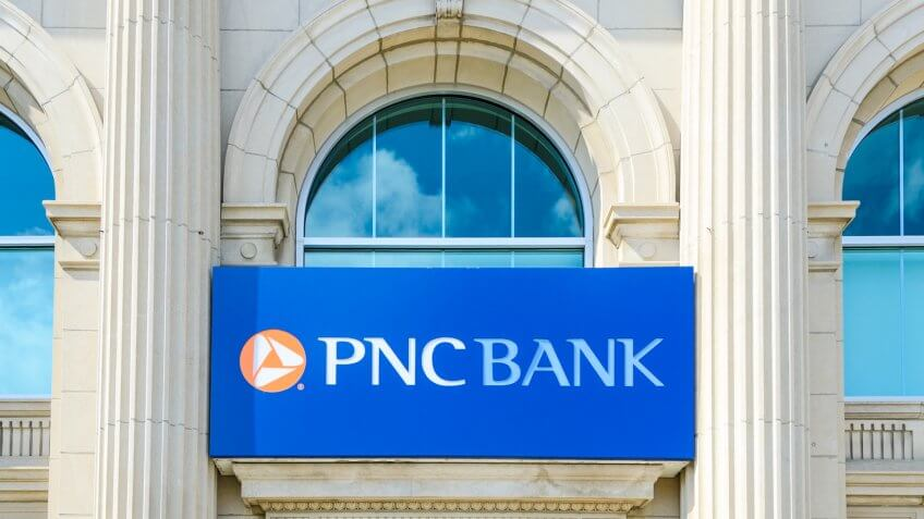 Romeo, Michigan, USA - September 24, 2011: The PNC Bank building in downtown Romeo, Michigan.