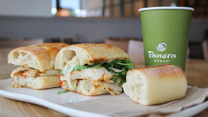 COLUMBUS, GEORGIA/USA - 06-20-2019 Tuscan Grilled Chicken Sandwich on a white plate at a Panera Bread restaurant in Columbus, GA.