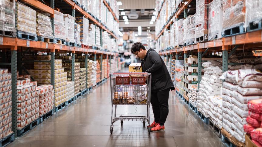 Tigard, Oregon - Nov 8, 2019 : People with carts in Costco Wholesale.