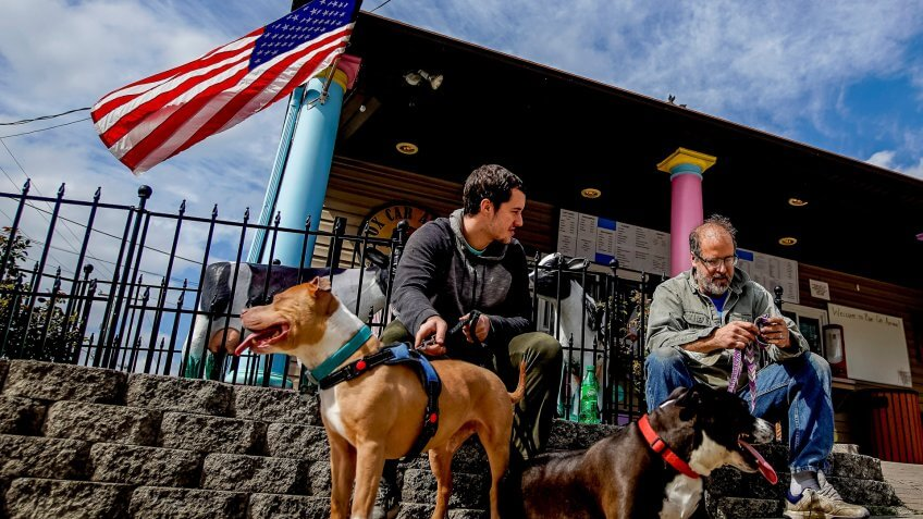 Perryville residents and their dogs visit Box Car Ice Cream for a treat on a beautiful Spring afternoon.