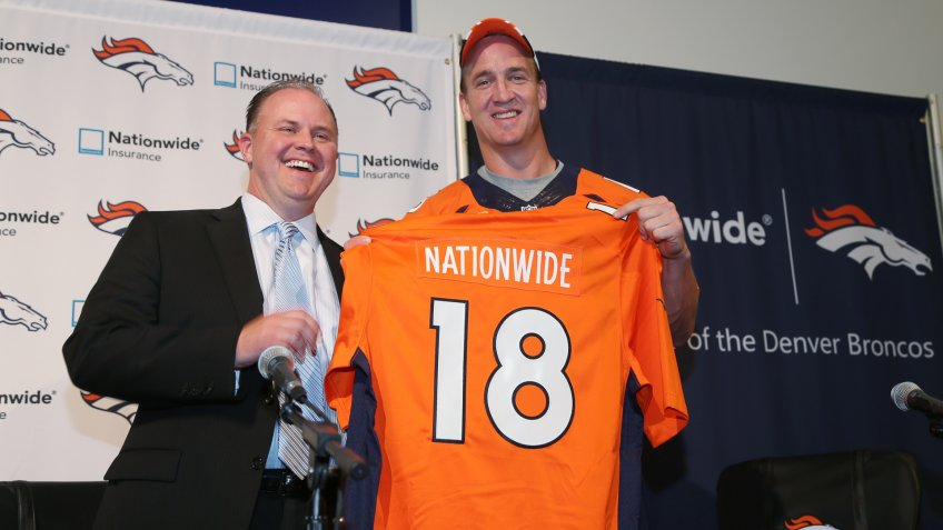 Mandatory Credit: Photo by David Zalubowski/AP/Shutterstock (5929304g)Matt Jauchius, Peyton Manning Matt Jauchius, chief marketing officer for Nationwide Insurance, jokes with Denver Broncos quarterback Peyton Manning at news conference to announce Manning's partnering as well as the team's expanded connection with the insurance company after players took part in the team's NFL football minicamp at the Broncos' headquarters in Englewood, Colo.