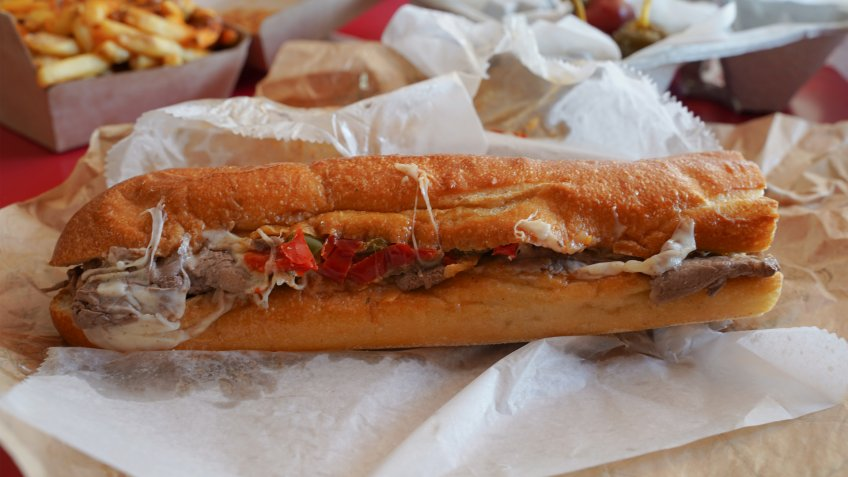 Authentic Philly Cheese Steak Sandwich.