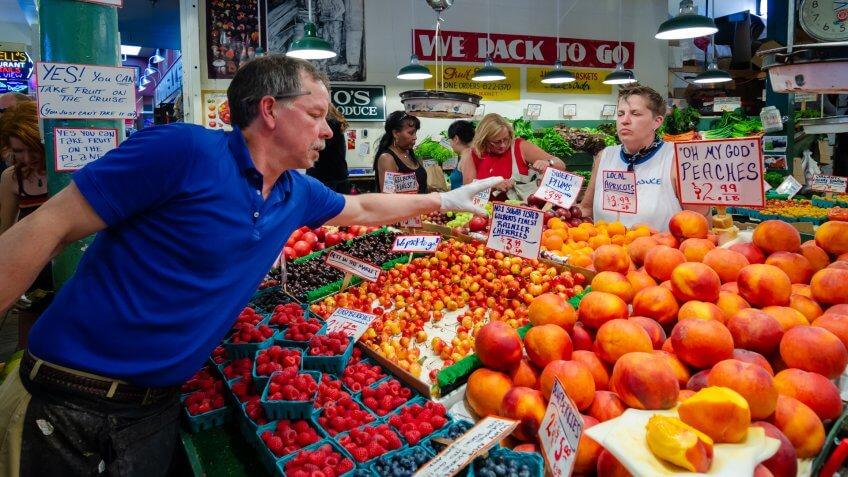 SEATTLE, USA, - JULY, 12, 2012: Inside Pike Place Market in Seattle, USA.