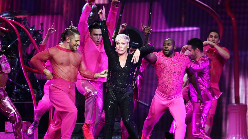 American singer Pink performs her Beautiful Trauma World Tour, at Qudos Bank Arena, in Sydney, Australia, 11 August 2018.
