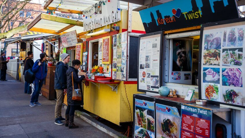 PORTLAND, OR - FEBRUARY 2, 2016: Food trucks and carts in downtown PDX offer lunch and other meails for inexpensive prices near major office buildings.