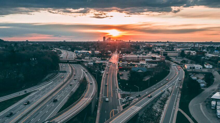 Rochester New York Aerial View Sunset, Route 490 Sunset over Rochester.