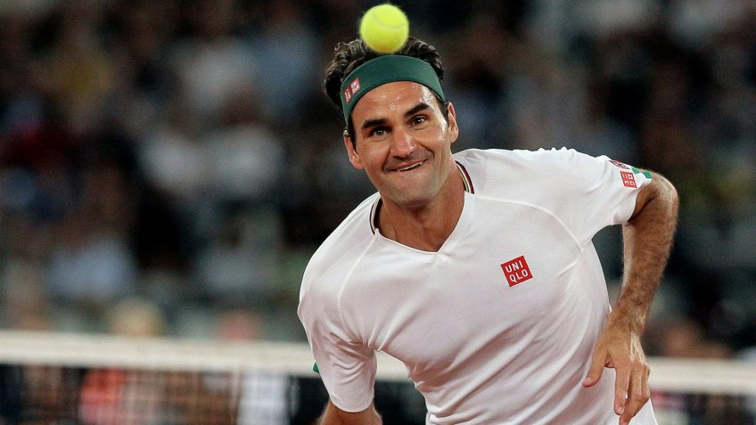 Mandatory Credit: Photo by Halden Krog/AP/Shutterstock (10550948r)Roger Federer in action during the exhibition tennis match against Rafael Nadal held at the Cape Town Stadium in Cape Town, South AfricaFederer Nadal Exhibition, Cape Town, South Africa - 07 Feb 2020.