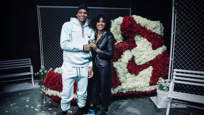 Mandatory Credit: Photo by Omar Vega/AP/Shutterstock (10557835d)Jordan Brand Family Member, Russell Westbrook and Nina Westbrook, arrive at the Jordan Brand All-Star Celebration on in ChicagoJordan Brand All-Star 2020, Chicago, USA - 14 Feb 2020.