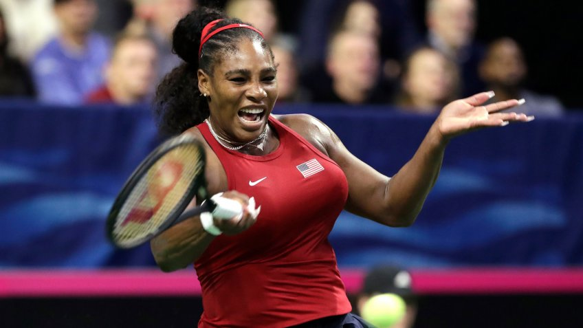 Mandatory Credit: Photo by Elaine Thompson/AP/Shutterstock (10551297o)United States' Serena Williams returns a shot against Latvia's Jelena Ostapenko during a Fed Cup qualifying tennis match, in Everett, WashFed Cup US Latvia Tennis, Everett, USA - 07 Feb 2020.