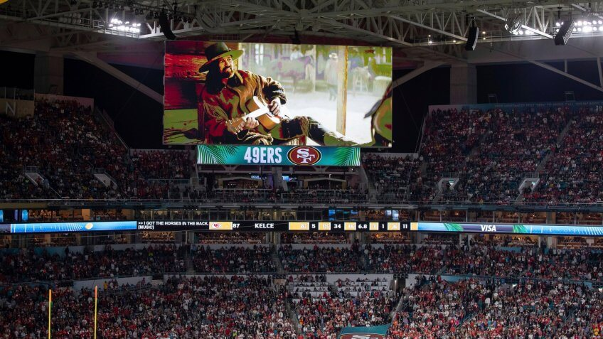 Ad banners during the NFL Super Bowl 54 football game between the San Francisco 49ers and Kansas City Chiefs, in Miami Gardens, Fla.