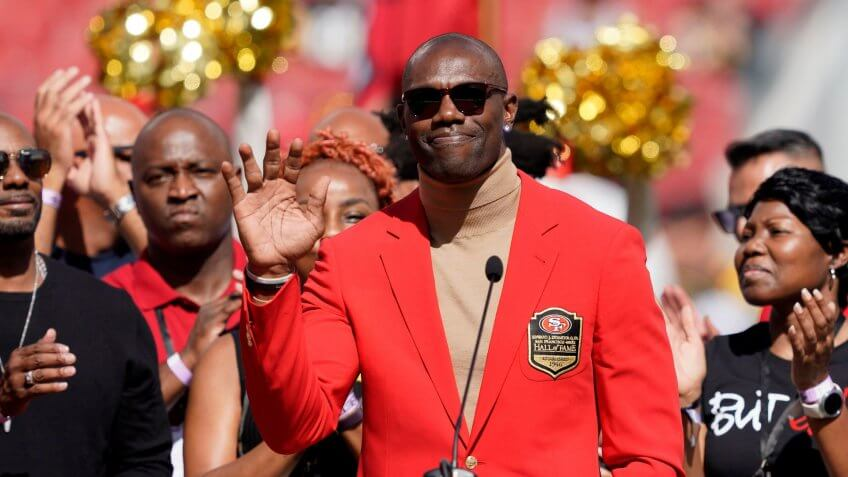 Mandatory Credit: Photo by Tony Avelar/AP/Shutterstock (10421026el)Former San Francisco 49ers wide receiver Terrell Owens waves during a ceremony as he is inducted into the team's Hall of Fame during halftime of an NFL football game between the 49ers and the Pittsburgh Steelers in Santa Clara, CalifSteelers 49ers Football, Santa Clara, USA - 22 Sep 2019.